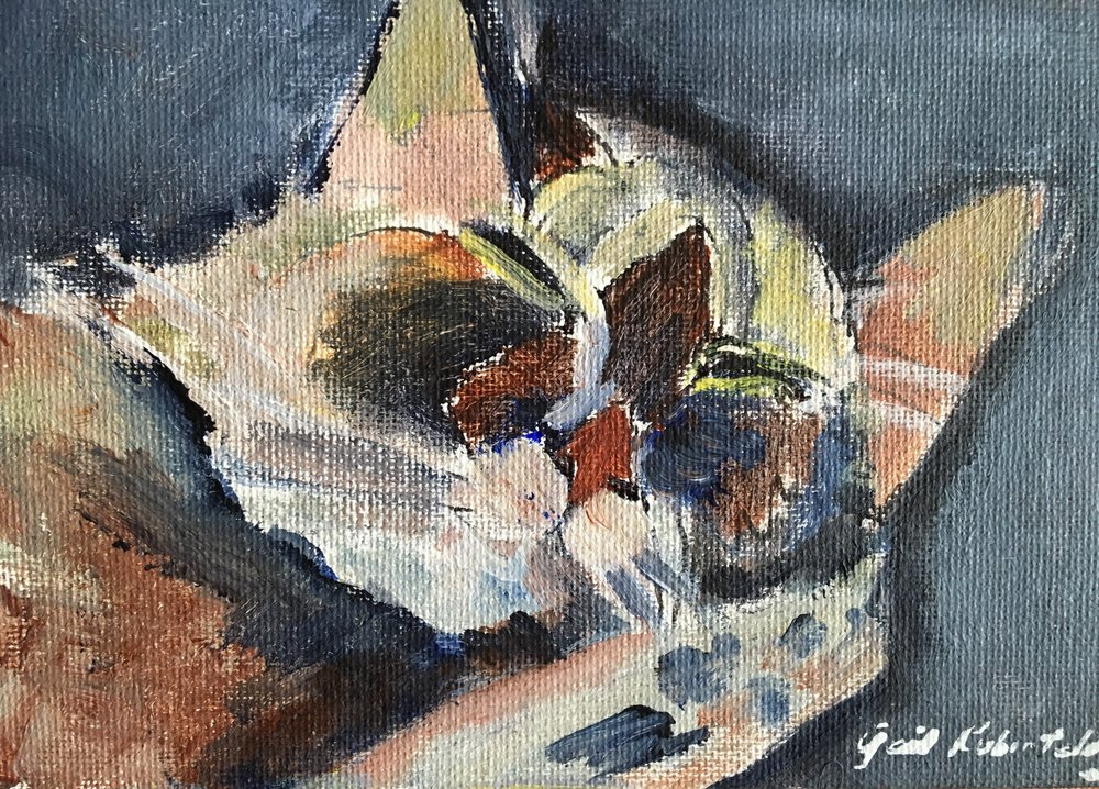 """Sleeping Cat"" 10x12 acrylic"