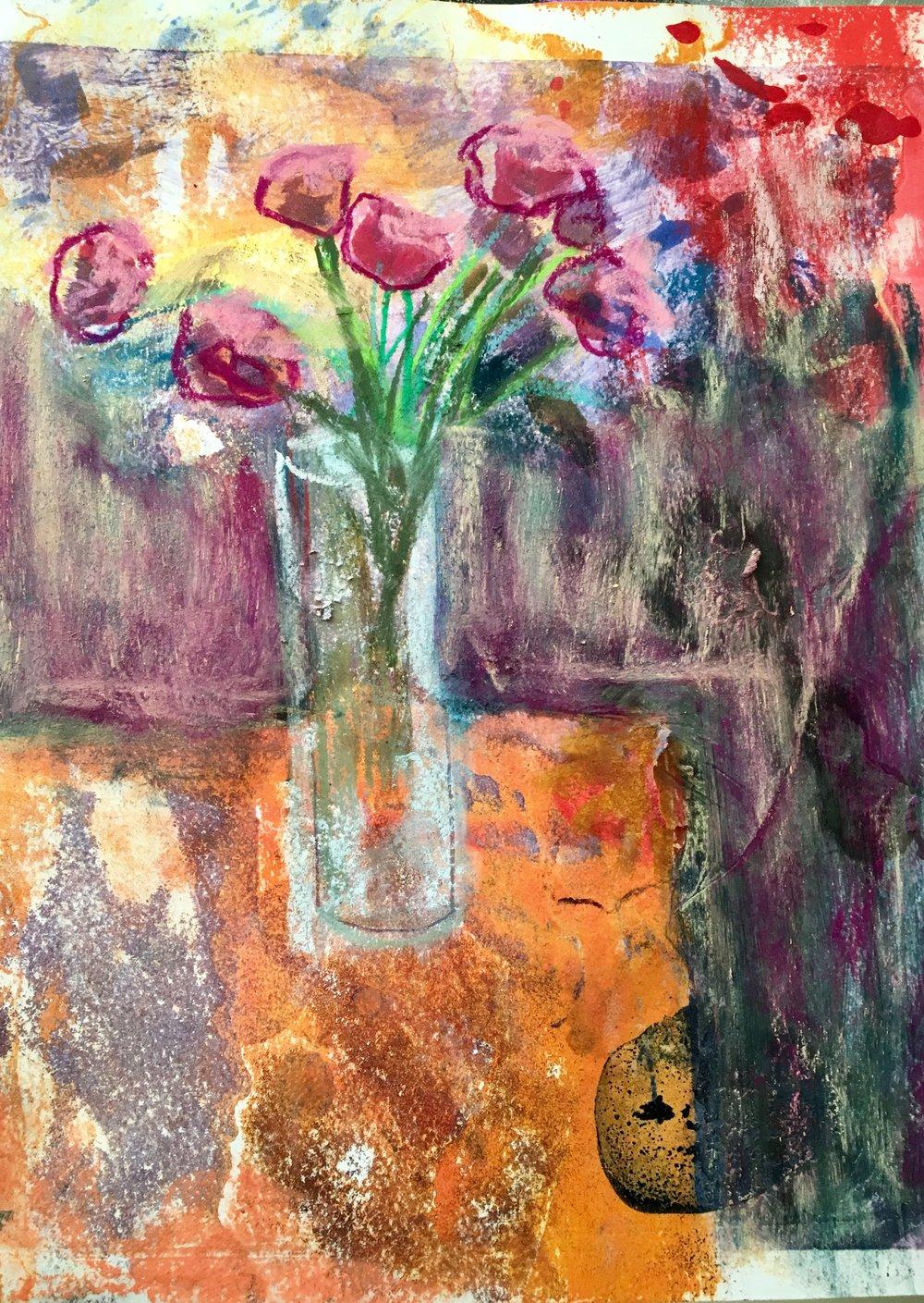 "French Bouquet"" monoprint 14x11"""