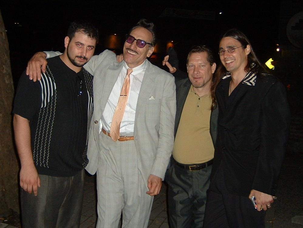 Mikey Jr. Rick Estrin Steve Guyger and Dennis Gruenling outside the Turning Point NY 2005.JPG