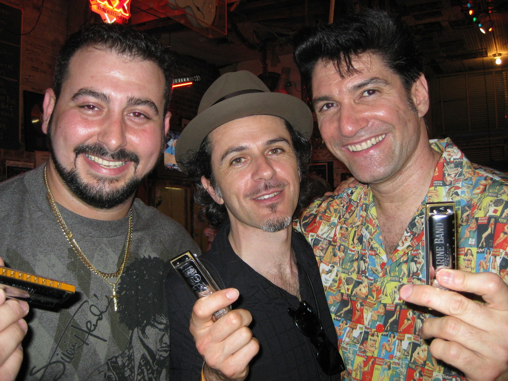 Mikey Jr. Marco Pandolphi & Bob Corritore at Ground Zero Blues Club Clarksdale, MS May 2008 Photo By Gina Sicilia.jpg