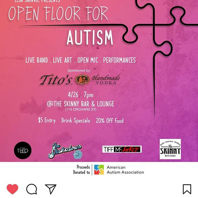 Don't be that person to see the Recap Video and regret not coming!  Our event is tonight don't miss it!! Meet us at @theskinnybar for  Love Music, Drink Specials, an Open Mic, Live art and a lot more!!!!! You can donate or get advanced tickets at the link in my Bio!  #autismawareness #autismmom #autism #autismspeaks #autismacceptance #autismawarenessmonth #autismfamily #autismspectrumdisorder #autismsupport