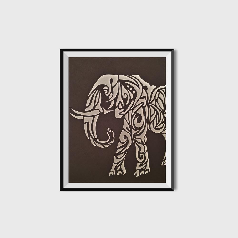 Elephant Cut Paper Poster