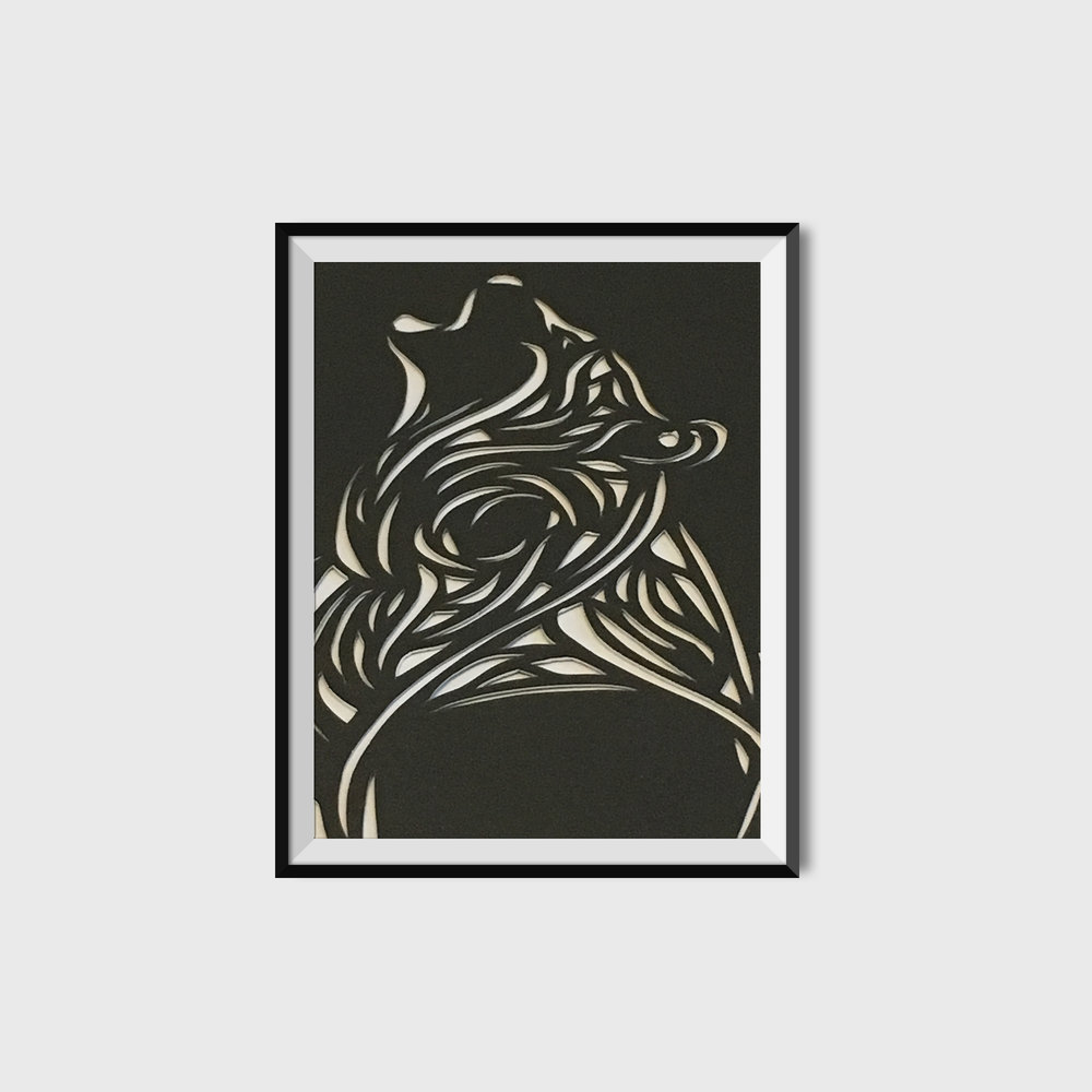 Wolf Cut Paper Poster