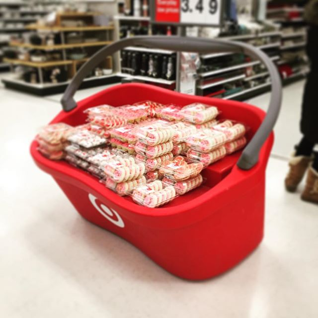 Giant promotional basket display in big box retailer Target. #retaildesign #customerengagement