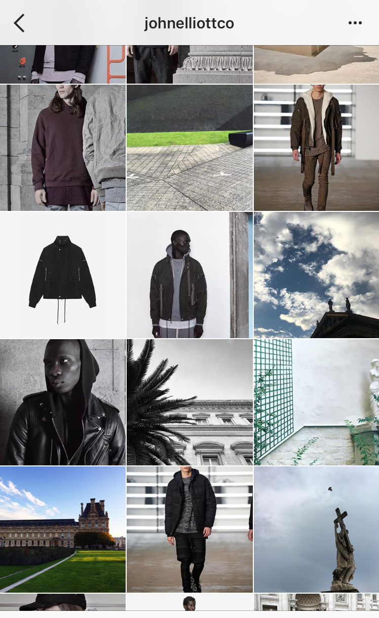 John Elliott Co.'s very cohesive and aesthetically pleasing content curation strategy.