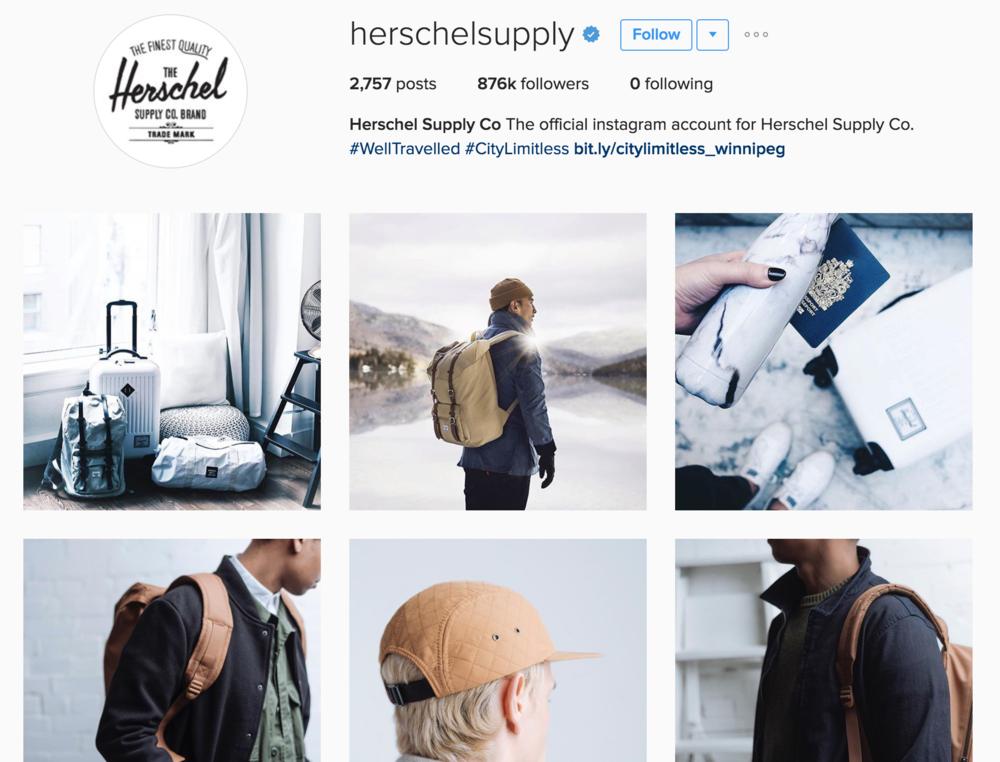 Herschel's excellent and cohesive social media content.
