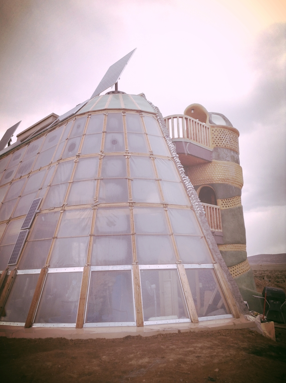 3 story Earthship under construction.