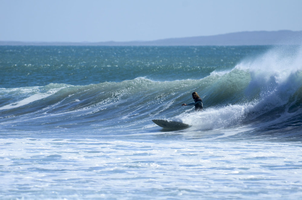 Matty surfing an empty right hander in Baja.