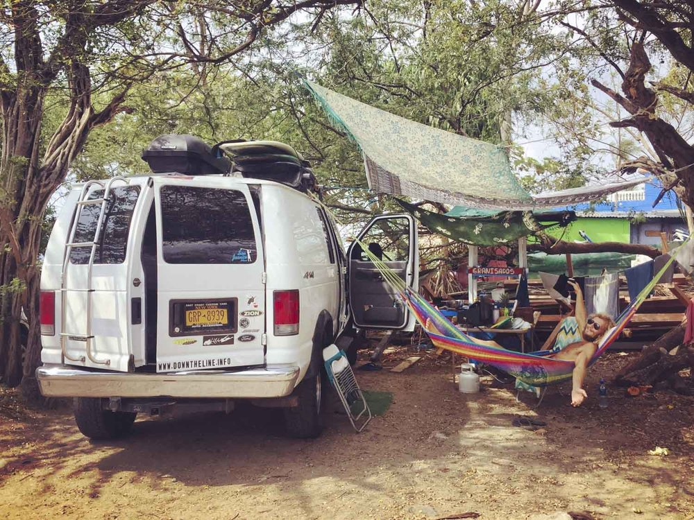 Parking lot in Tamarindo, Costa Rica, right in front of the wave