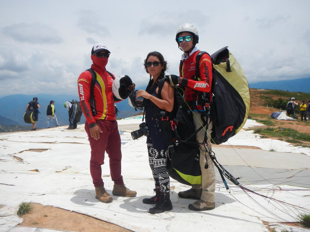 Looking brave before paragliding over Chicamocha Canyon