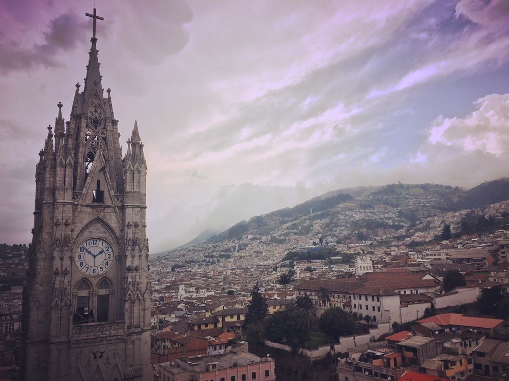 View of the city center in Quito