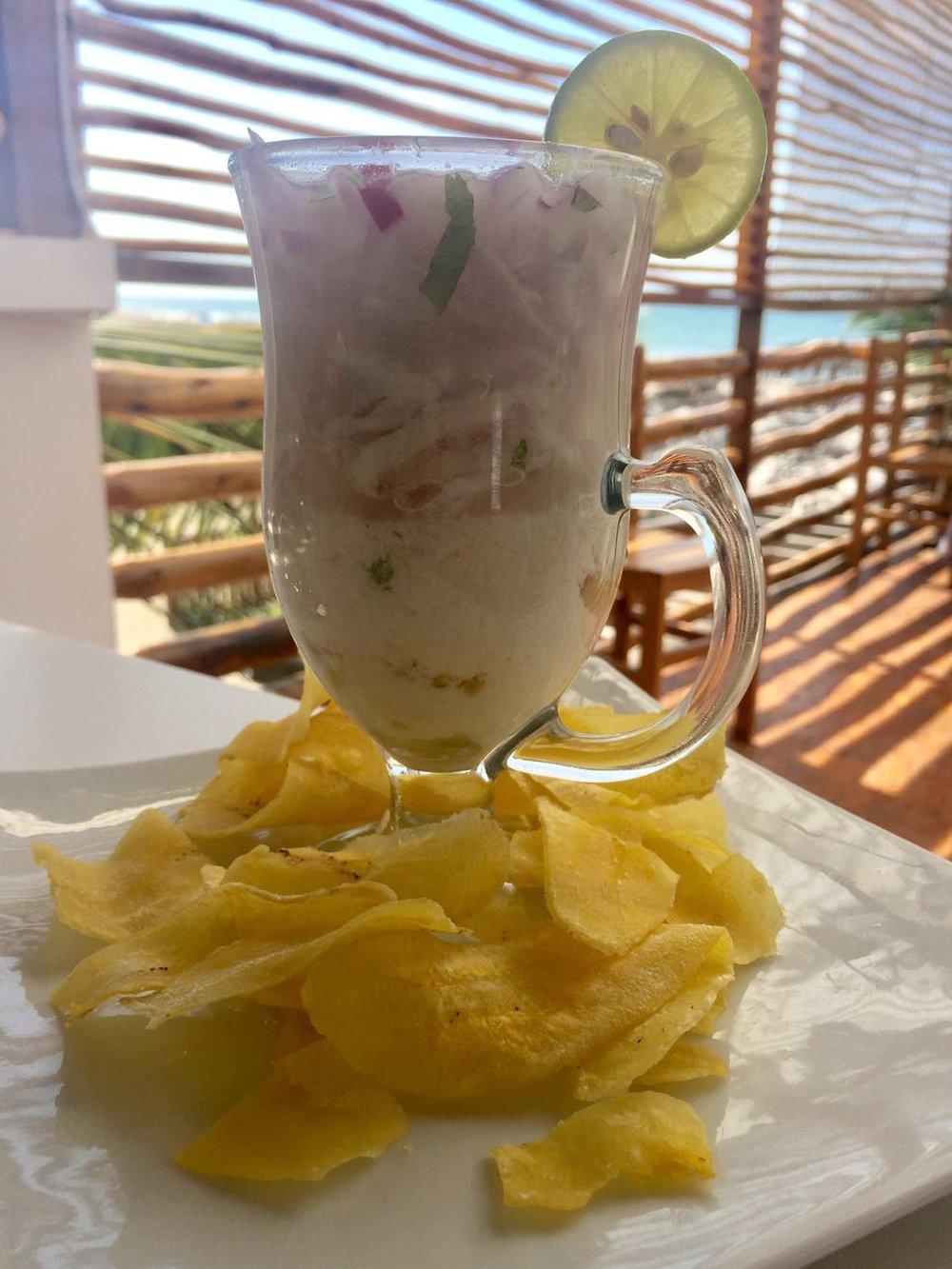 Ceviche in a cup, better known as Lech de Tigr