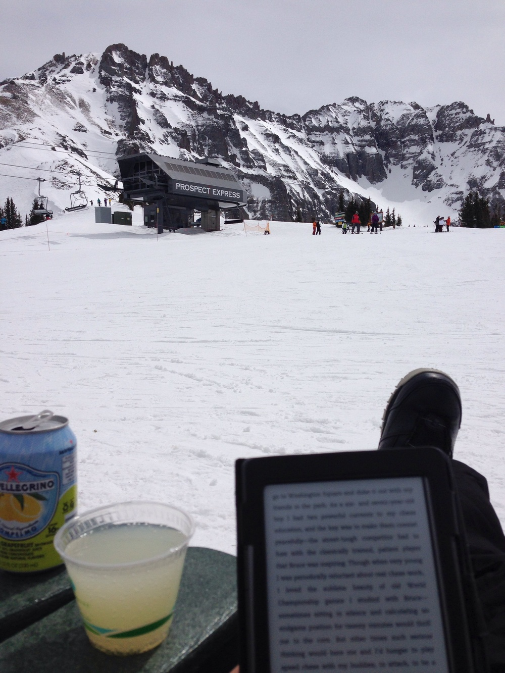 Chairs at the high camp at the top of the Project Express lift for some San Pellegrino & vodka + The Art of Learning