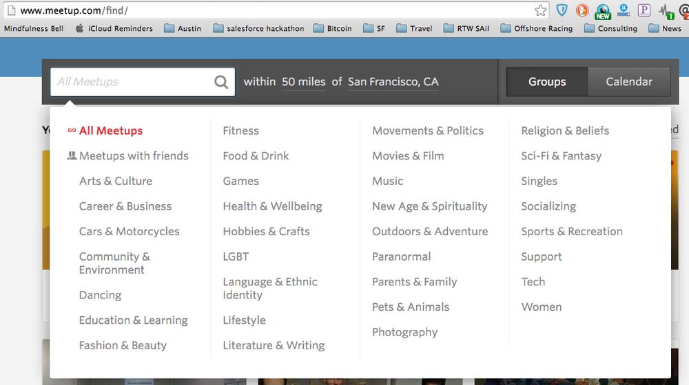 Meetup.com categories