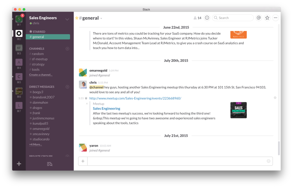 Sales engineering slack chatroom