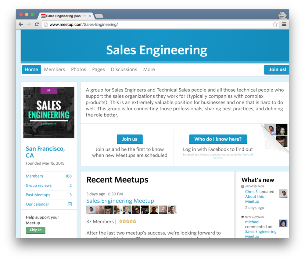 Sales engineering meetup in San Francisco