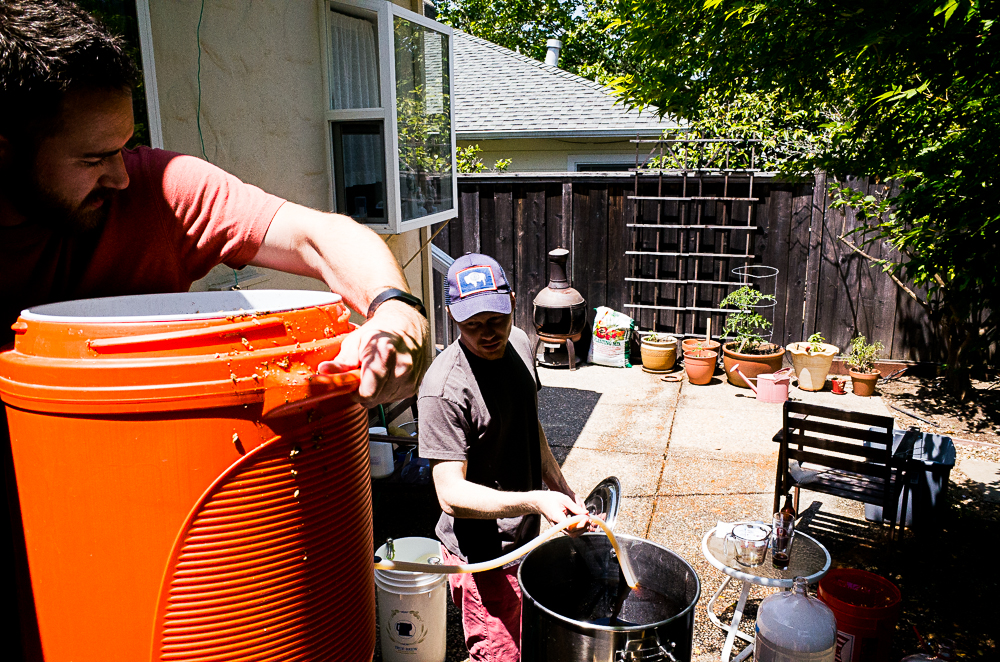 One of our latest brew session in San Anselmo, CA. Kyle and Brett are seen here working on a ten gallon batch of IPA. Recipe to follow tasting...
