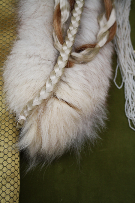 purchased human hair twisted with a wig braid on fur trim