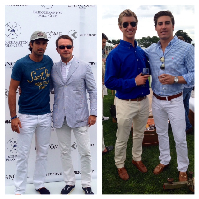 On the left, polo star Nacho Figueras looks effortlessly cool in white denim and tee.