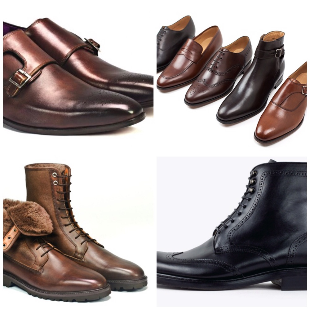 From top left clockwise: Paul Drish Monkstrap, Jack Erwin selection, Jack Erwin Carter Wingtip Combat Boot, Paul Drish Sebastien Boot.