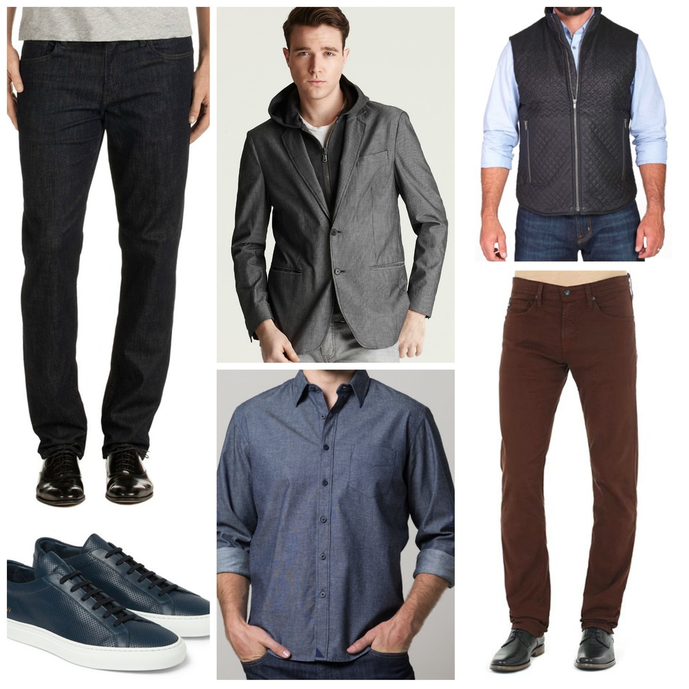 From top left clockwise: JBrand, John Varvatos, Salence, AG, UNTUCKit, Common Projects.