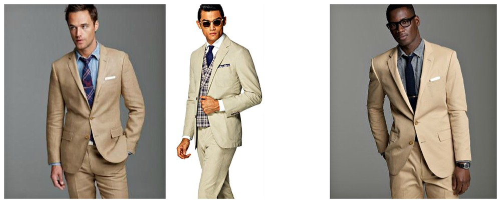 From left to right: J. Crew, Suit Supply, J. Crew