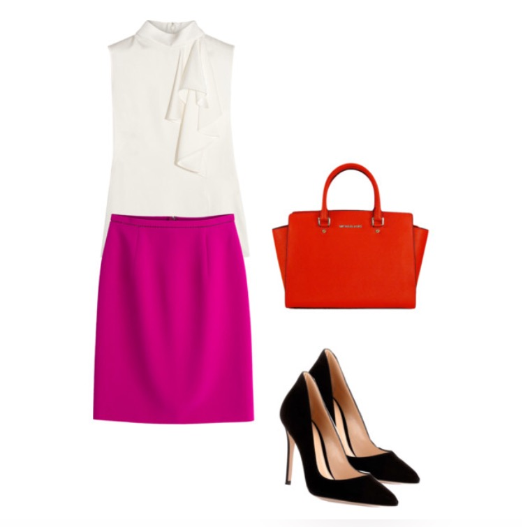 Blouse, Skirt, Bag, Shoes