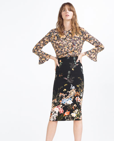 Love the floral on a dark background for this midi skirt by www.zara.com