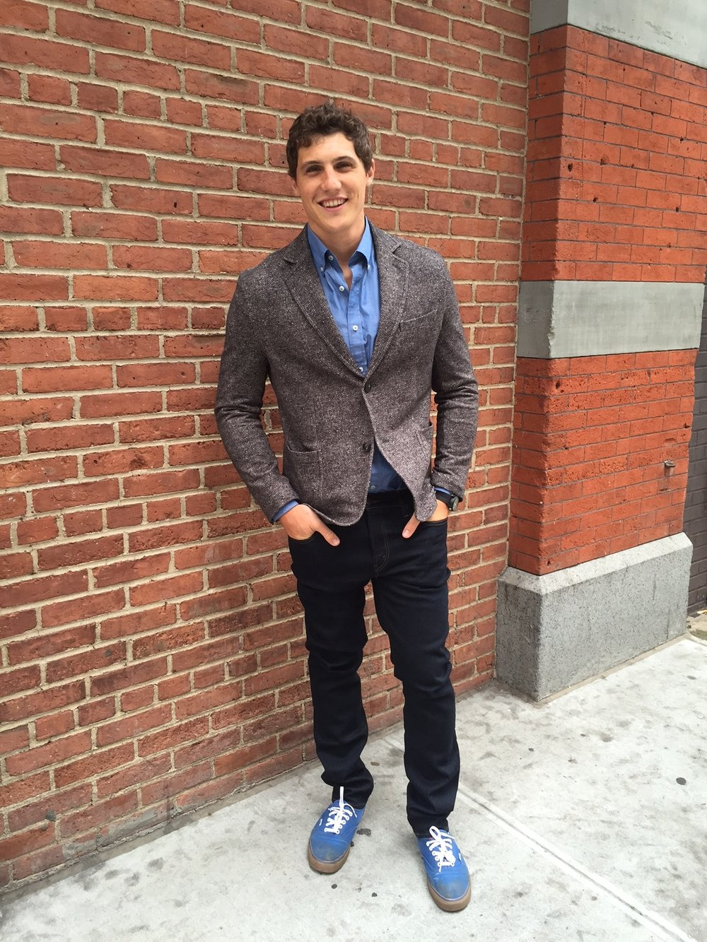 Fair Harbor  co-founder Jake in a Circolo 1901 jersey blazer at  Rothman's.