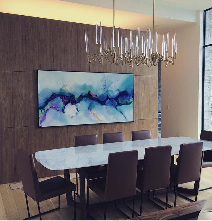 "Rainsong, 40x80"", installed in private residence in Austin, TX, 2016. Designer: Lania Fryou from Larue Architects. Framing provided by Metropolitan Picture Frames."