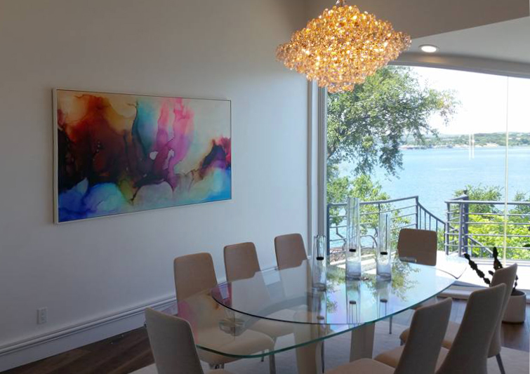 "Sunset Cruise, 40x80"", installed in private residence, Lakeway, TX, 2016. Designer: Anastasia Read of ARCHITERIORS, Austin. Framing provided by Metropolitan Picture Frames."