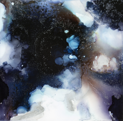 Cosmosis II,ink and acrylic on panel, 16x16, 2016