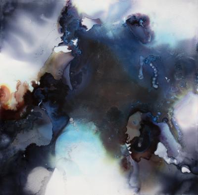 Cosmosis I, ink and acrylic on panel, 16x16, 2016