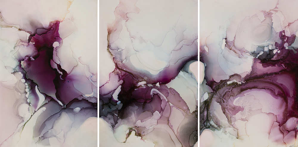 Pirouette, triptych, ink and acrylic on Claybord, 36x72in, 2016 (sold)