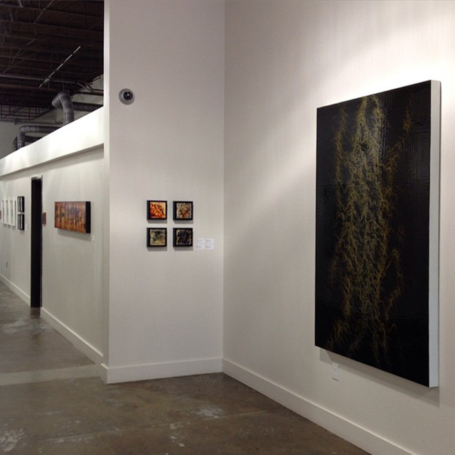 Camiba Art,  Austin, TX, Flow, 2/1/15 – 4/5/15 with artists Paul Booker (right), Nicola Parente (left) and Misha Penton. Series of four (center) by Andrea Pramuk.