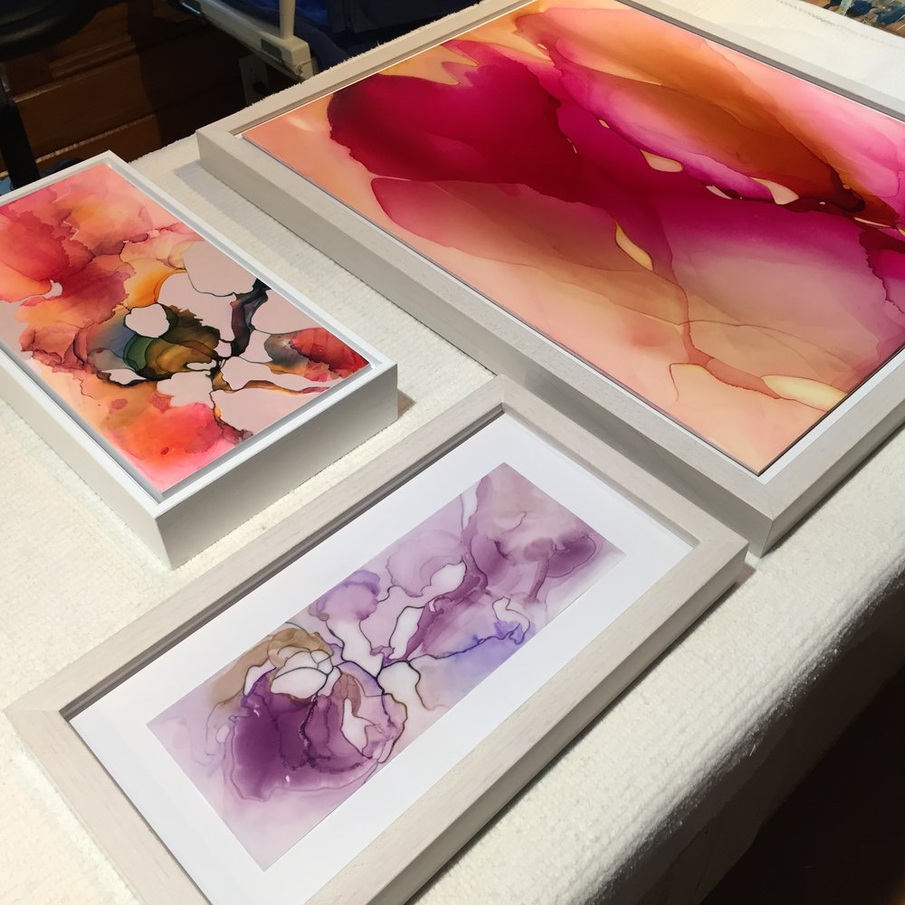 Various size works, framed ($300-$840).