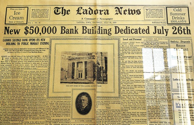 A front page story in The Ladora News from July 26, 1920 announces the opening of the Ladora Savings Bank.