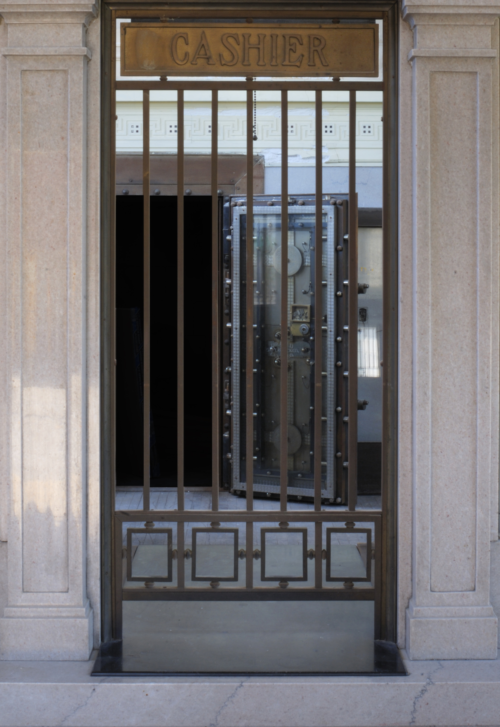 View of the vault through the original teller box taken in 2007 during the four year renovation.