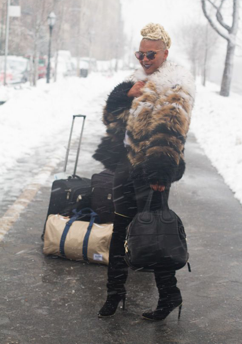 Even in the snow, editor in chic Claire Sulmers of  The Bomb Life  manages to look fab! Check out her London-bound look  here.