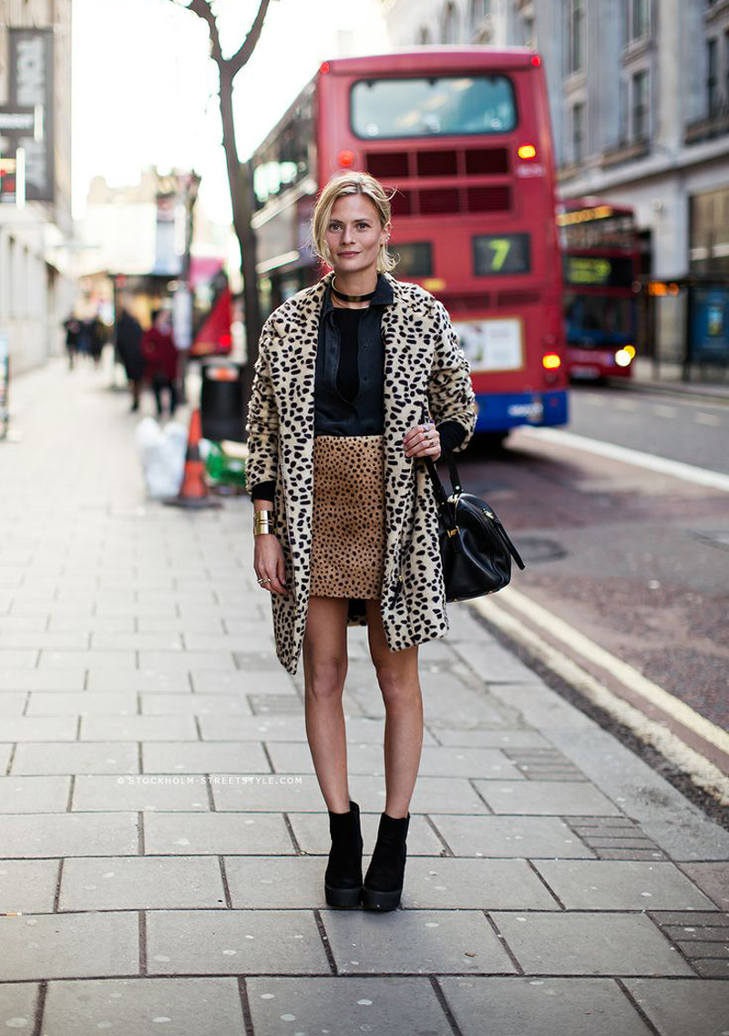 Here's a new take on mixing prints: leopard, and more leopard. We will definitely be giving this a try !  See the full look  here .