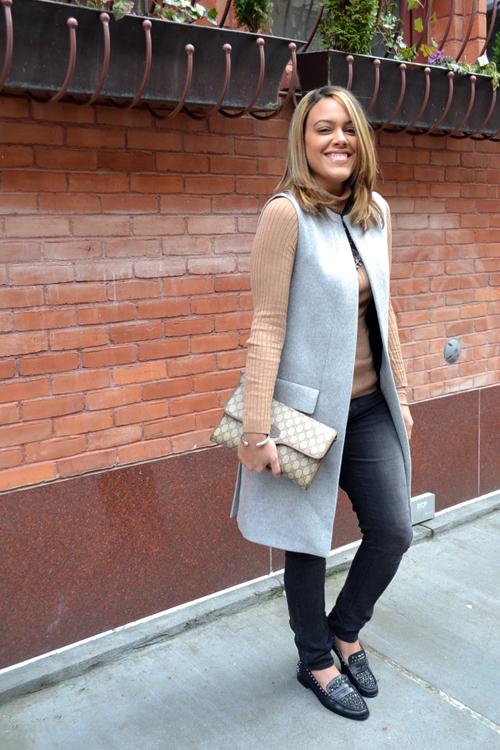 Wearing: Zara Studio Vest, Gap Turtleneck, AE Jeans, Zara Necklace + Shoes, Gucci Bag