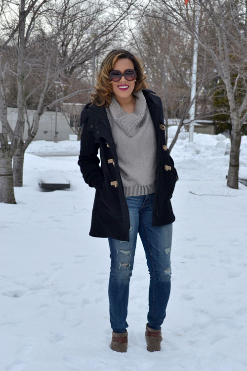 Wearing: AE Sweater + Jeans, Free People Coat, Dolce Vita Booties, Prada Sunglasses