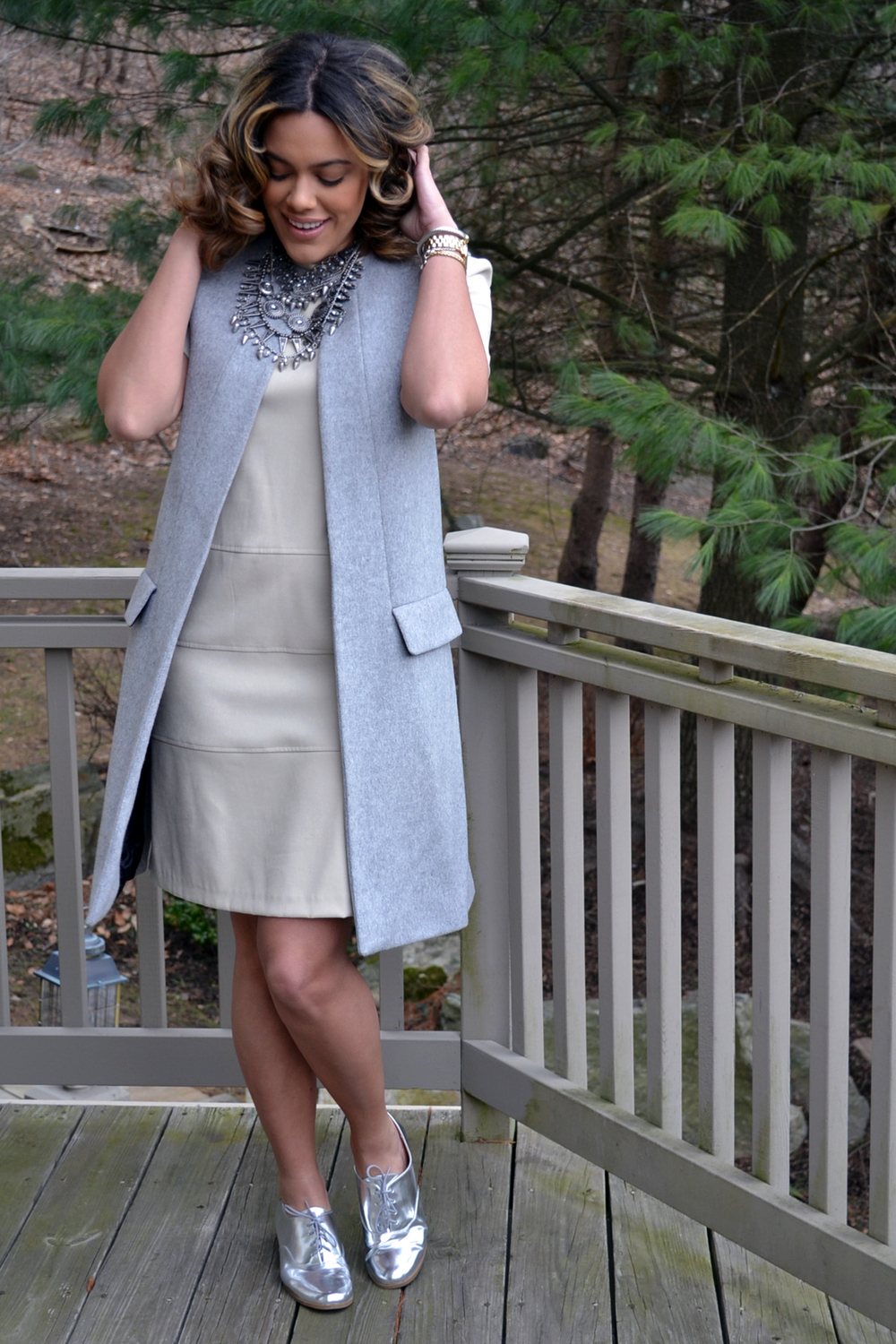 how-to-wear-zara-gray-vest-coat-suede-shift-dress-metallic-oxfords.jpg