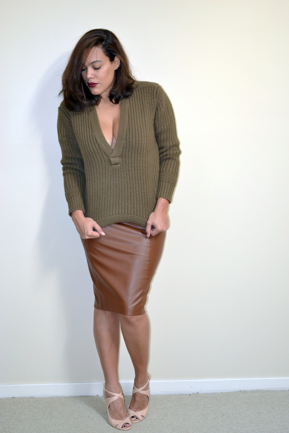 hm-studio-collection-aw-14-olive-green-vneck-sweater-zara-brown-leather-skirt.jpg