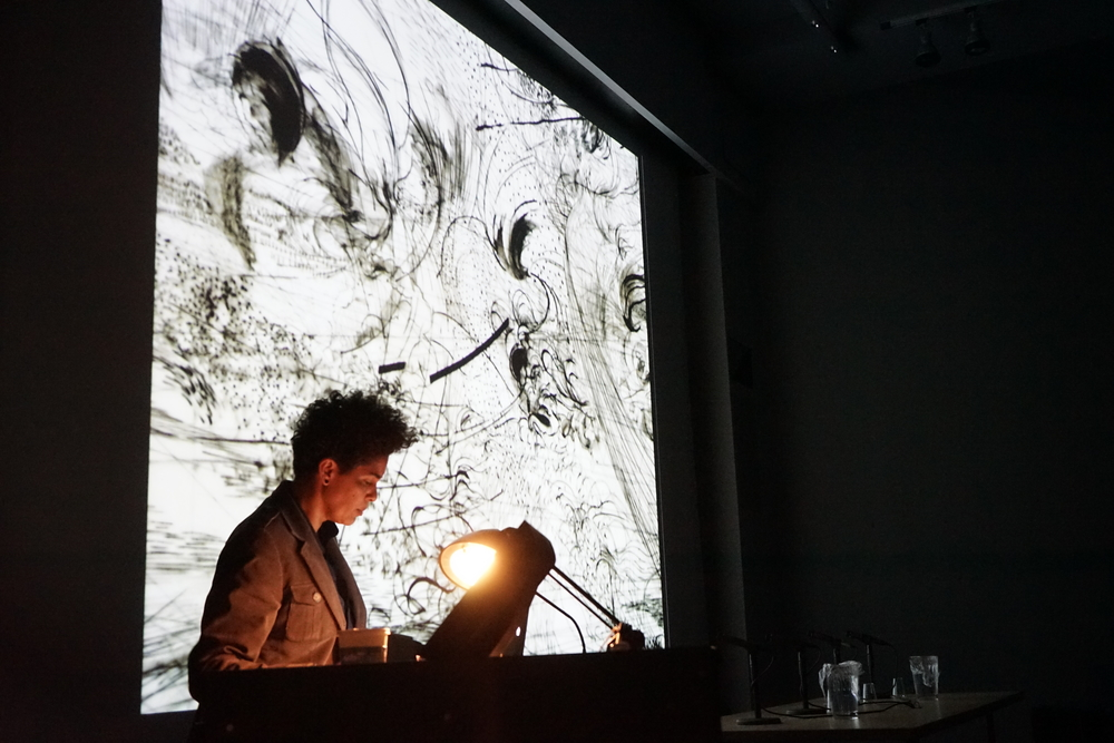 Julie Mehretu presents her work, April 8, 2014, Wood Auditorium, Columbia University.