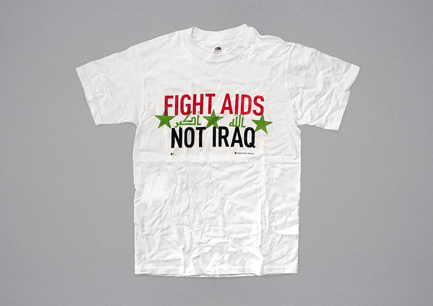 Housing Works activists wore this T-shirt in Times Square on the first night of Operation Iraqi Freedom, March 20, 2003.