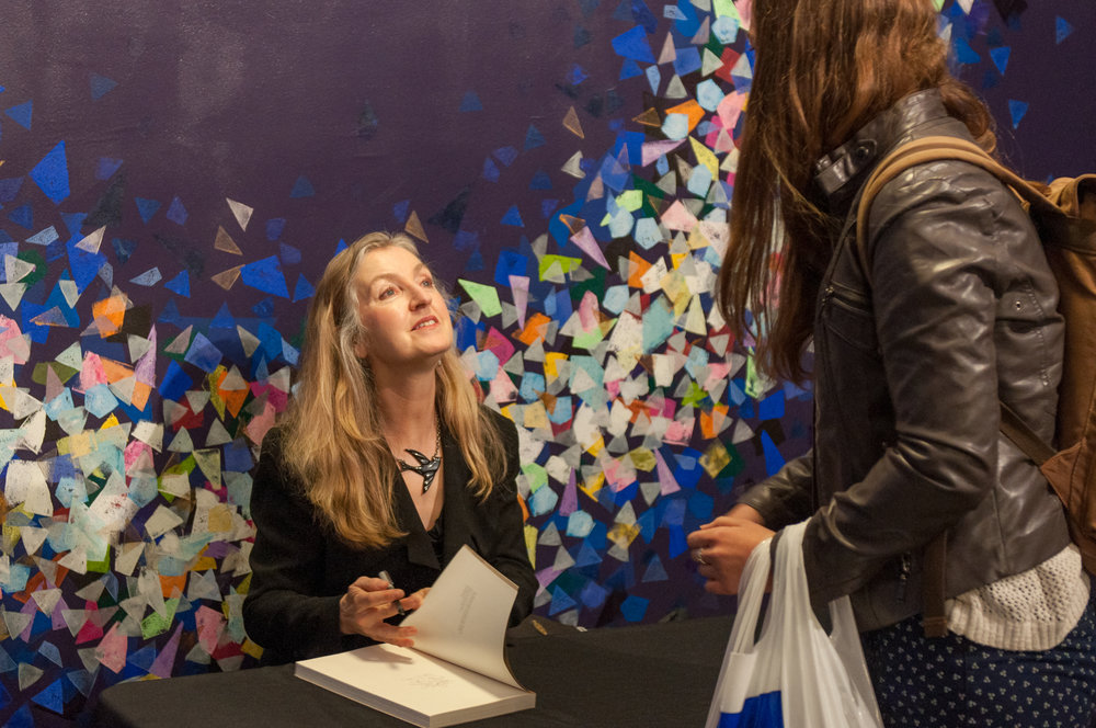 Rebecca Solnit signs  Nonstop Metropolis: A New York City Atlas , October 26, 2016, Miller Theatre.