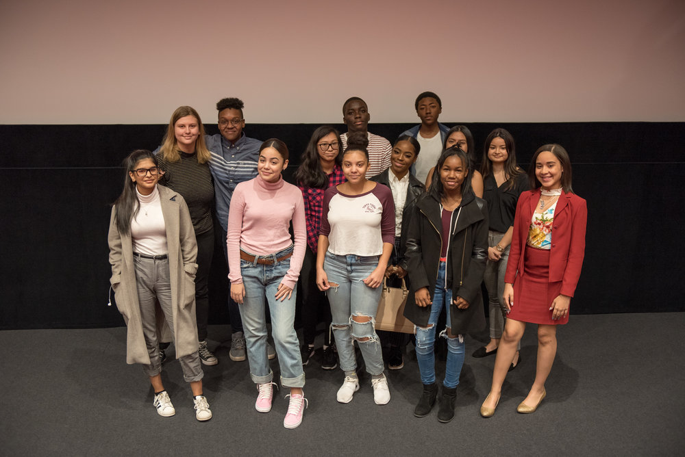 New York City high school students, following, readings of their creative writings, December 2, 2017, Lenfest Center for the Arts.