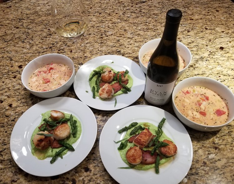 Salmon Chowder w/fire roasted tomatoes and Scallops w/tarragon beurre blanc. Paired with Ryan Patrick Rock Island Chardonnay from Washington State