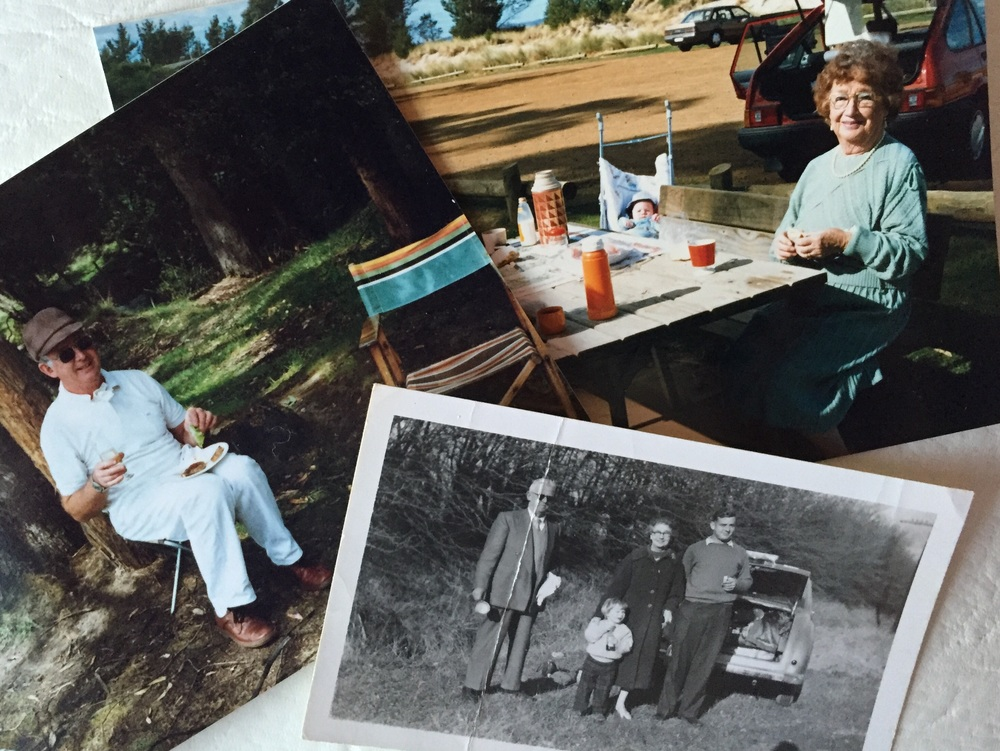 My Dad, my Grandmother and me as a child with my grandparents and my Dad on a picnic.